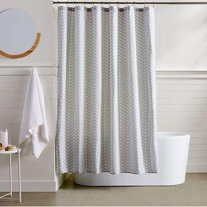 Amazon basics grey herringbone shower curtain New in package